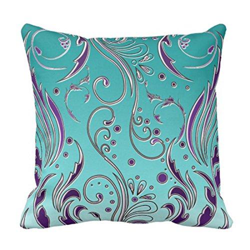 Emvency Throw Pillow Cover Floral Flourish Turquoise Purple Swirls Decorative Pillow Case Home Decor Square 20 x 20 Inch Pillowcase