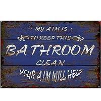 ブルーオリジナルヴィンテージ木製パターンバスルームティンメタルウォールアートサイン、厚いブリキプリントポスターウォールデコレーション(バスルーム)