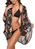 OLRAIN Women's Floral Print Sheer Loose Kimono Cardigan Capes (Large, BlackBlue Flower)