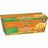 Annie's Real Aged Cheddar Macaroni & Cheese, Microwavable Mac & Cheese, 4 oz, 2 ct (Pack of 6)