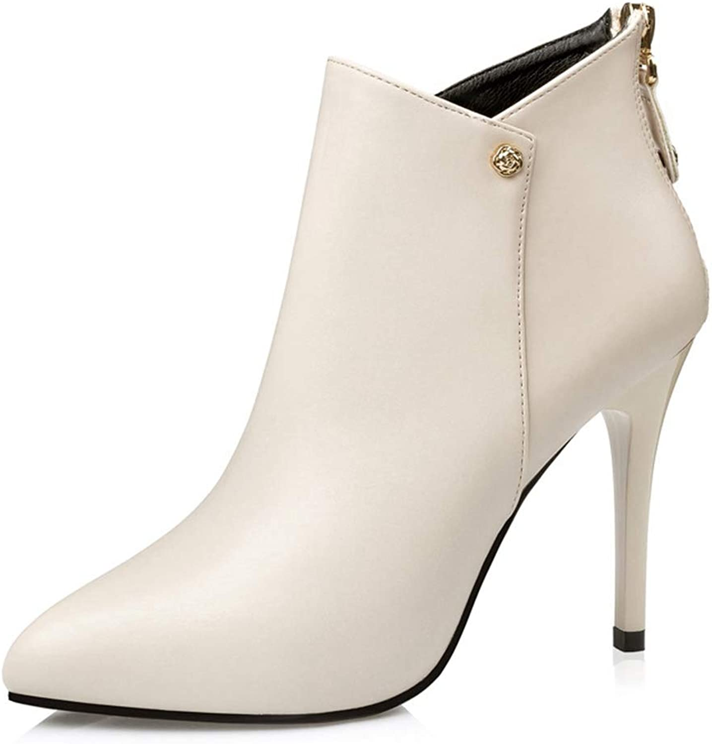 CYBLING Women's Stiletto High Heel Ankle Booties PU Leather Back Zip Sexy Pointed Toe Martin Boots