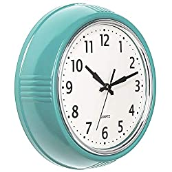 Bernhard Products Retro Wall Clock 9.5 Inch Blue Kitchen 50's Vintage Design Round Silent Non Ticking Battery Operated Quality Quartz Clock (Robin Egg Blue)