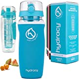 Hydracy Fruit Infuser Water Bottle - 32 oz Sports Bottle - Insulating Sleeve, Time Marker & Full Length Infusion Rod + 27 Fruit Infused Water Recipes eBook Gift - Aqua Blue