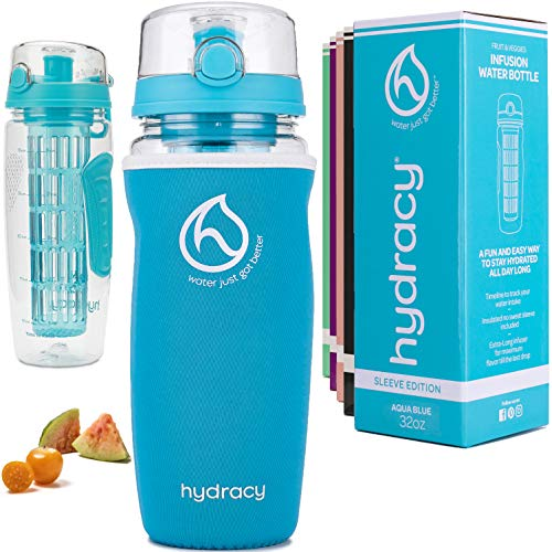Hydracy Fruit Infuser Water Bottle - 1Litre Sport Bottle with Insulating Sleeve, Time Marker and Full Length Infusion Rod + 27 Fruit Infused Water Recipes eBook Gift - Aqua Blue