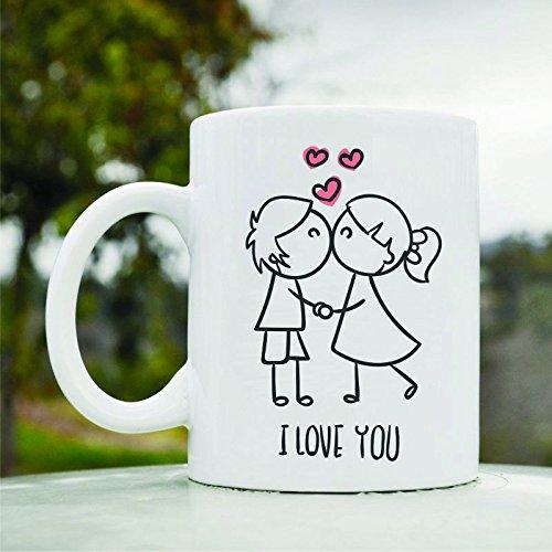 Kissing Couple I Love You Cute Funny 11oz Ceramic Coffee Mug Cup