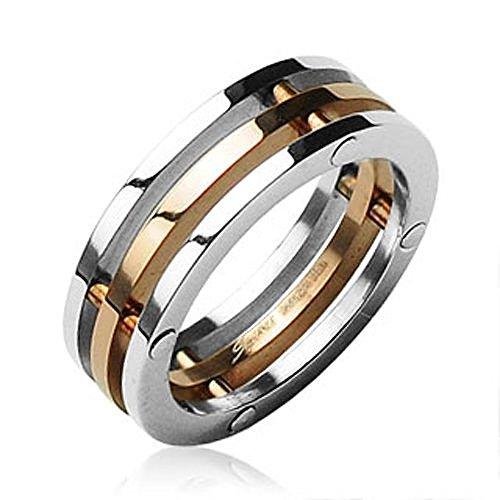 Autiga Damen Herren Ring Edelstahl Triple 3er 3-teilig Dreifach Bandring Partnerring Silber-Gold 62 - Ø 19,76 mm