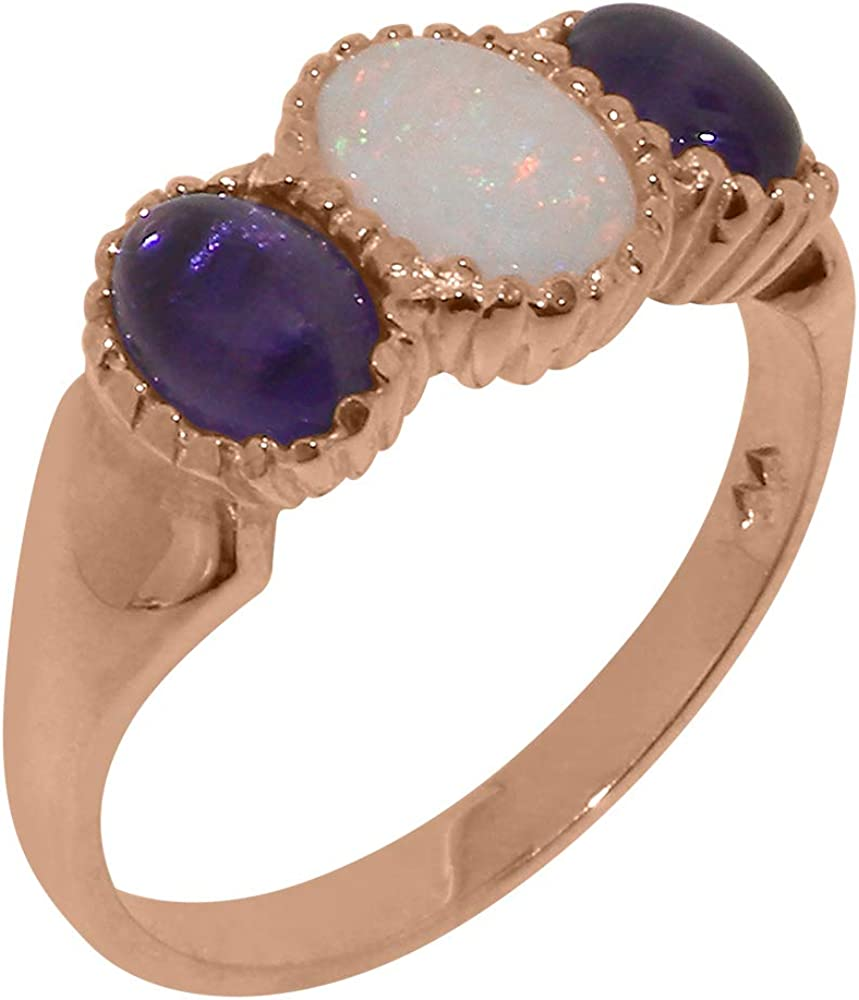 18k Rose Gold Natural Opal & Amethyst Womens Trilogy Ring - Sizes 4 to 12 Available