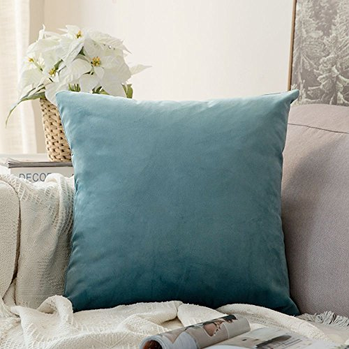 MIULEE SAMT Kissenbezug Kissenhülle Dekorative Dekokissen mit Verstecktem Reißverschluss Sofa Schlafzimmer 24x 24 Inch 60 x 60 cm 1 Stück Knickentengrün