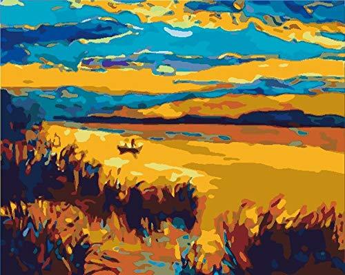 ZLLHAPPY Pintar con Numeros Barco De Playa Al Atardecer Pintura por Números con Pinceles Y Pinturas Decoraciones para El Hogar - 40X50Cm