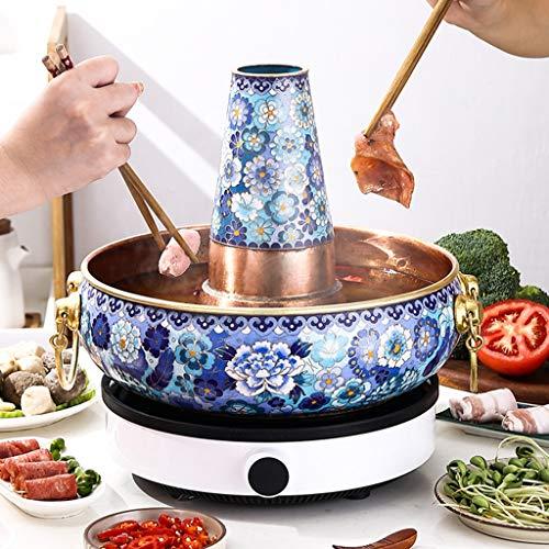 Fondue-Fritteusen Tontöpfe Zum Kochen Cloisonne Commercial Copper Hot Pot Spezial Für Induktionsherd Old Beijing Lamb Pot Kitchen Verdickter Behälter (Color : A, Size : 36cm)