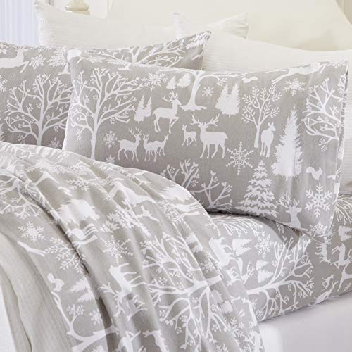 Great Bay Home Extra Soft Enchanted Woods 100% Turkish Cotton Flannel Sheet Set. Warm, Cozy, Luxury Winter Bed Sheets. Belle Collection (King, Enchanted Woods)