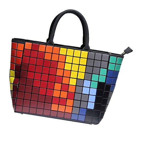 Bloc De Couleur Cube Réseau Arc En Ciel Sac De Messager Sac à Main,Multi-colored-L