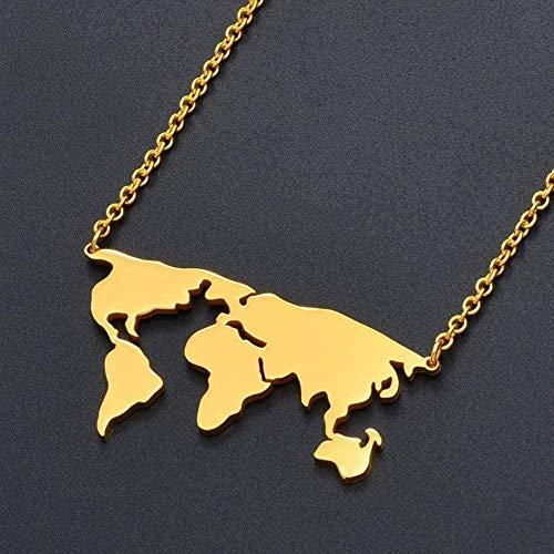 ZHIFUBA Co.,Ltd Collar Globo Mapa del Mundo Collar Acero Inoxidable Regalo del Día de la Tierra Color Dorado Mapas mundiales Joyería Regalos