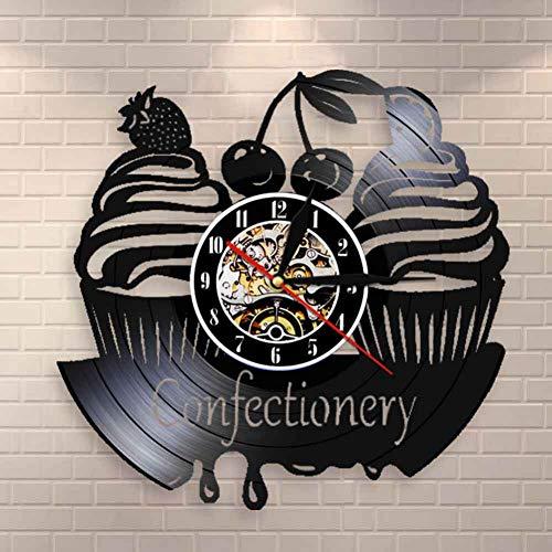 HDNFW Orologio da Parete per Pasticceria Confetteria Moderna Orologio da Parete Dolci Cupcake Vinile Orologio da Parete Orologio da Forno Torta di Ciliegie Orologio Decorativo
