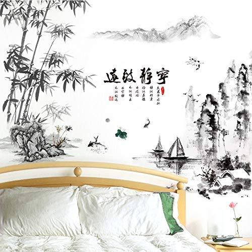 TAOYUE Pegatinas De Pared De Montaña De Bambú De Color Negro, CalcomaníasMurales De Barcos De Ríos Para Decoración De Sala De Estar
