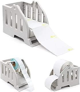 Label Holder for Rolls and Fan-Fold Labels Bracket Plastic Label Paper Holder of Thermal Bar Code Sticker Label Printer for Delivery, Supermarket, Pharmacy Store (2 in1 Holder C)