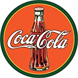 Desperate Enterprises Coca-Cola 30's Bottle & Logo Round Tin Sign, 11.75' Diameter