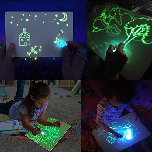 Jeteven Kid Light Drawing Pad, Doodle Board Drawing Tablet Luminescent Board Glow in Dark Painting Developing Educational Toys Gifts for Toddlers Over 3 Years Old(A4)