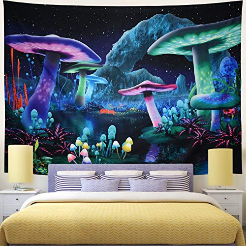 Rajahubri Psychedelic Mushroom Tapestry Fantasy Plant Wall Tapestry Galaxy Space Tapestry Starry Night Sky Tapestry Wall Hanging for Room(H51.2×W59.1)