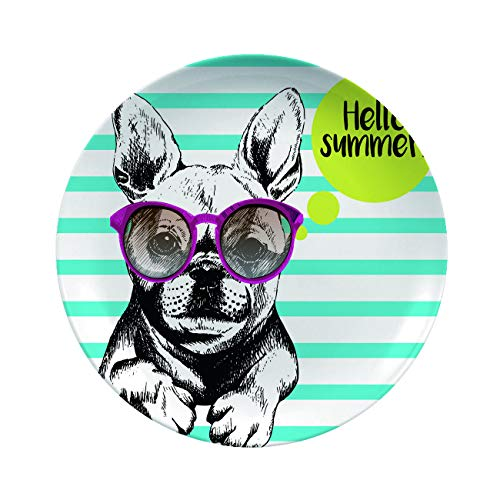Art Ceramic Dinner Plates,Vector Close Up Portrait Of French Bulldog Wearing The,Decor For Living Room Wall/dining Table/Office,8 Inch 6 Piece Set