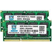 motoeagle 16GB Kit (2x8GB) DDR3 1333MHz SODIMM PC3-10600S 8GB 204-Pin Unbuffered Non-ECC CL9 2Rx8 Dual Rank Notizbuch Arbeitsspeicher
