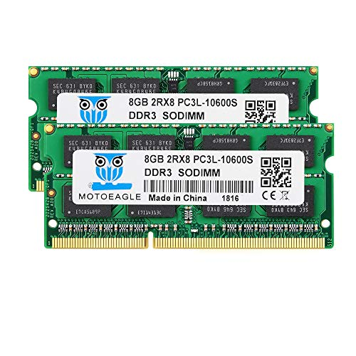 16GB Kit (8GBx2) PC3 10600S DDR3L 1333MHz SO-DIMM 8GB 2RX8 Dual Rank PC3-10600 DDR3-1333 1.35V/1.5V 204-pin Sdram Non-ECC Unbuffered SODIMM Módulo de Memoria RAM para portátiles