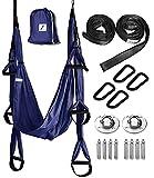 HELIZ Columpio de Yoga & Meditación | Juego Completo | Hamaca Yoga Aéreo con 6*Brazos 6*Asas y 4*Soportes para los pies (Azul Violeta)