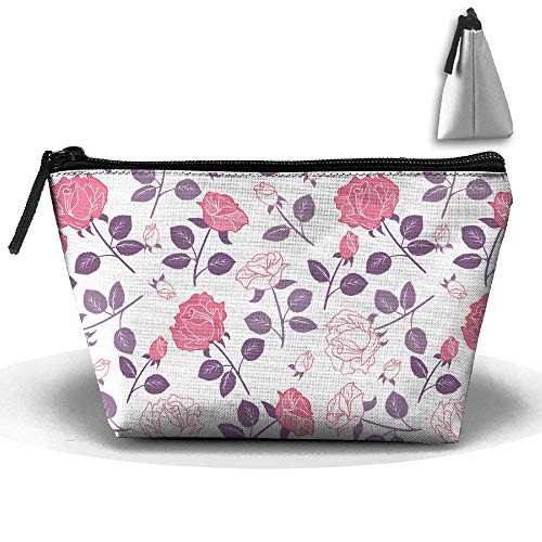 Pink Flowers Floral Waterproof Trapezoidal Bag Cosmetic Bags Makeup Bag Large Travel Toiletry Pouch Portable Storage Pencil Holders