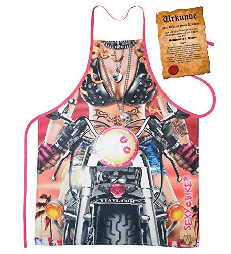 Mega Sexy keukenschort kookschort BBQ-schort met gratis certificaat - sexy fiets - sexy grappig artikel cadeau idee funartikel