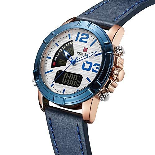 Smartwatches,Multifunktions Dual Display Led Dual Motion Uhr Im Freienbergsteigen Leuchtende wasserdichte Uhr Rosafarbene Blaue Weiße Haut Der Schale