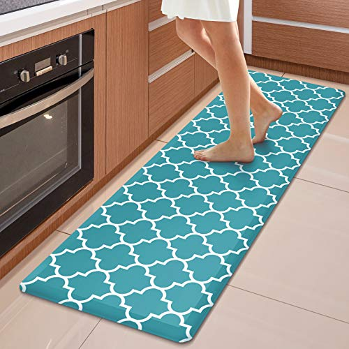 """WISELIFE Kitchen Mat Cushioned Anti-Fatigue Kitchen Rug,17.3""""x 60"""",Non Slip Waterproof Kitchen Mats and Rugs Heavy Duty PVC Ergonomic Comfort Mat for Kitchen, Floor Home, Office, Sink, Laundry, Green"""