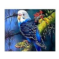DIY 数字 油絵 塗り絵 キット 大人 子ども 塗り絵 青いインコ デジタル油絵 手塗り 数字キットによる絵画 絵かき インテリア 壁飾り ホームデコレーション 40x50cm(額縁なし)