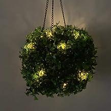 Luzes solares suspensas de flores artificiais ao ar livre, lanternas solares, lanternas de paisagem com corrente suspensa ...