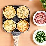 JLWS Padella per frittata a 4 Fori per Hamburger Uova Prosciutto Pancake Maker Manico in Legno Pentola per friggere Cucina Antiaderente Colazione Stoviglie