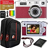 Polaroid iE827 Retro Digital Camera with 18MP 8X Optical Zoom and HD Video Movie Recording (Red) Bundle with Deco Gear Camera Bag Case + SanDisk 32GB Extreme Plus MicroSDHC Memory Card w/SD Adapter