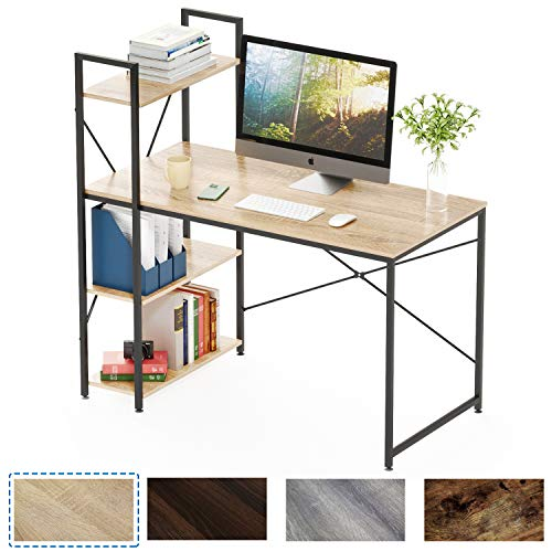 Bestier Computer Desk with Shelves,Writing Desk with Storage Bookshelf Reversible Study Table Office Corner Desk with Shelves Home Office Desk with Bookshelf Easy Assemble (47 Inch, Oak)