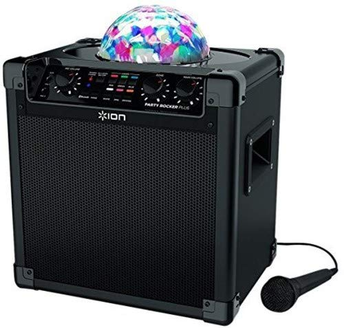 ION Audio Party Rocker Plus | Portable Bluetooth Party Speaker System & Karaoke Machine with Built-In Rechargeable Battery, App-Controlled Party Light Display & Microphone