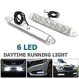 MASO Luz de circulación diurna 2 piezas blanco 12 V 6 LED DRL coche Daylights Niebla día conducción lámpara