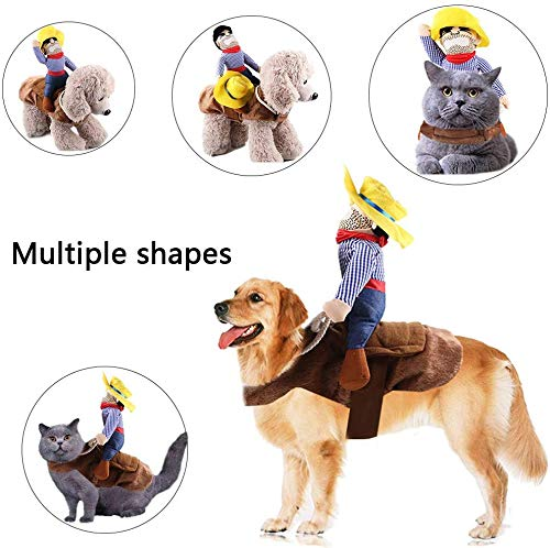Kungfu Mall 1 STÜCK Hundekostüm Haustieranzug Cowboy Reiter Stil Pet Riding Transfiguration für Party