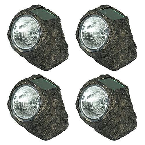 Sunnydaze Solar Rock Lights - Outdoor LED Landscape Sun-Powered Spotlight - Set of 4 Decorative Garden Pathlights - Natural Stone Appearance - Light Up Your Patio, Porch, Yard or Walkway