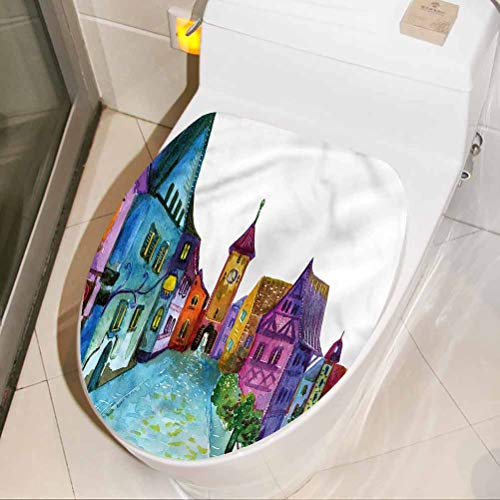 Adhesivo decorativo para asiento de inodoro, diseño de dibujos animados, decoración de la casa europea, decoración de baño, 8 x 11 pulgadas
