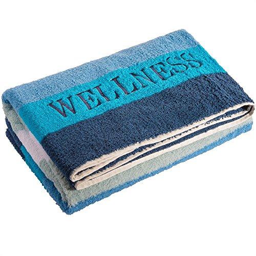 aqua-textil Wellness Saunatuch Doppelpack XXL 90 x 220 cm Streifen blau Baumwolle Sauna Handtuch Frottee Strandtuch