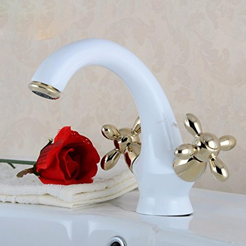 Küche mit herausziehbarer Dual-Spülbrause,Kaltes Heies Wassert Robinet de cuisine en céramique, robinet de rle de mouton à eau chaude et froide, robinet à deux roues en or Weiß rti à l'eau chaude