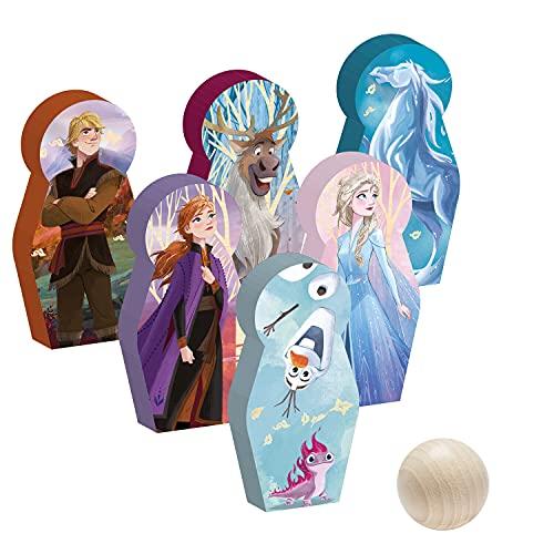 John 41131 Bowlingspiel Anna ELSA Bowling Set Kegelspiel Die Eiskönigin 2 Disney Frozen aus FSC Holz, Mehrfarbig