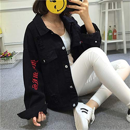 NZJK Vintage Herfst Rood Denim Jas Dames Jas Mode Losse Snoep Kleur Jeans Jas Vrouwen Bovenkleding Harajuku Basic Jas