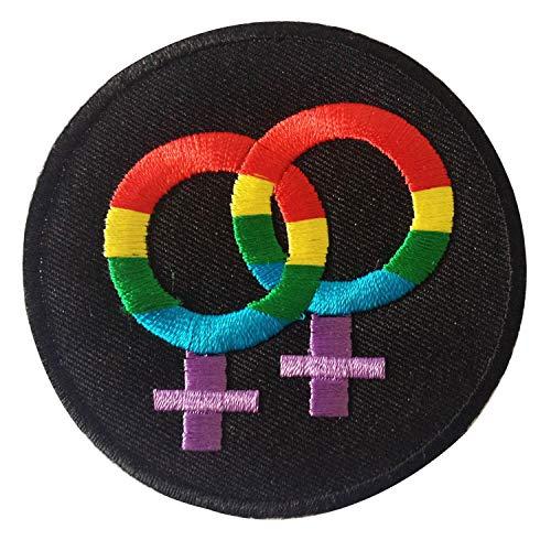 Gay Lesbian Rainbow LGBT Pride Iron on Patches Embroidered wedding decoration, Black, Medium