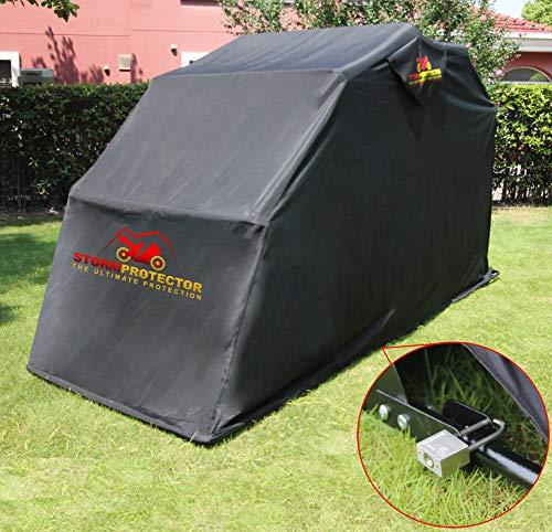 StormProtector® Housse de protection verrouillable pour moto avec cadre en acier trempé