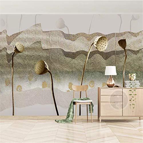 DZBHSCL 4D behang wandschilderingen, in Chinese stijl abstract gouden lijn lotusbloem Hd kunstdruk grootte fotobehang poster voor huis woonkamer slaapkamer muur decor 120in×200in 300cm(H)×500cm(W)