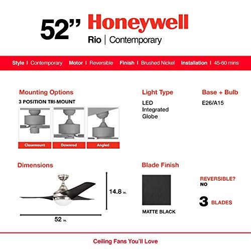 Honeywell Ceiling Fans 50195 Rio 54 Ceiling Fan with Integrated Light Kit and Remote Control, Brushed Nickel