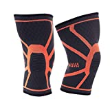 Mava Sports Knee Compression Sleeve Support for Men and Women - Perfect for Powerlifting, Weightlifting, Running, Gym Workout, Squats and Pain Relief (Orange, Medium)